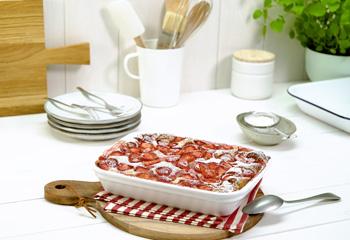 Mohn-Topfen-Auflauf mit Erdbeeren